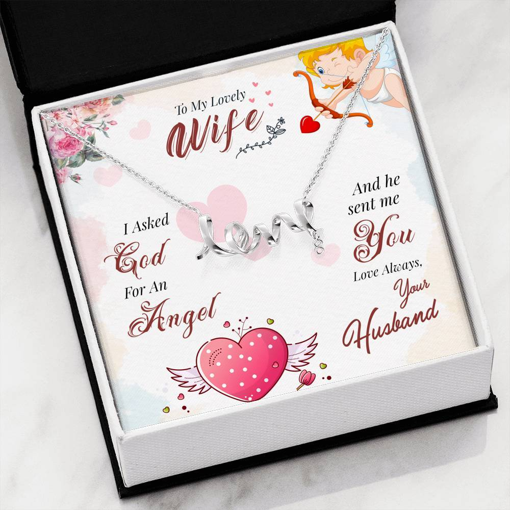 Jewelry High Polished .316 Surgical Steel Scripted Love To My Wife, I Asked God For an Angel - Scripted Love Necklace Customfam USAJewelry