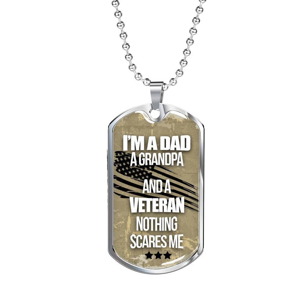Jewelry I Am A Dad, A Grandpa, And A Veteran - Luxury Dog Tag Customfam USAJewelry