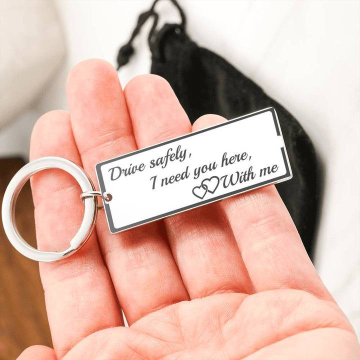 Jewelry Stainless Steel Rectangle Keychain DRIVE SAFELY, I NEED YOU - KEYRING Customfam USAJewelry
