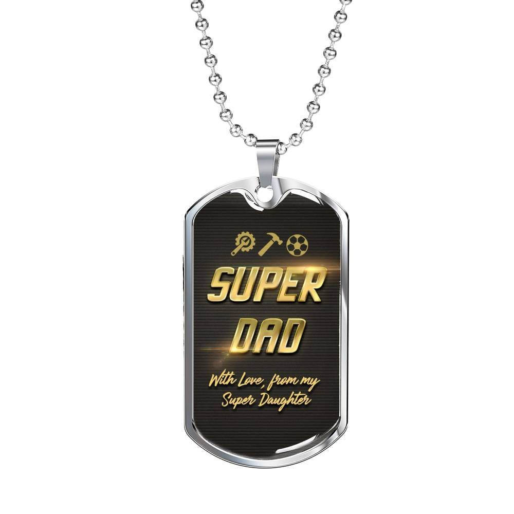 Jewelry Super Dad - Luxury Dog Tag Customfam USAJewelry