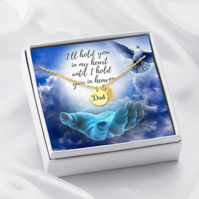 "Jewelry To My Dad - 18k Yellow Gold Finish TO MY DAD - ""I´LL HOLD YOU IN MY HEART..."" - REMEMBRANCE NECKLACE Customfam USAJewelry"