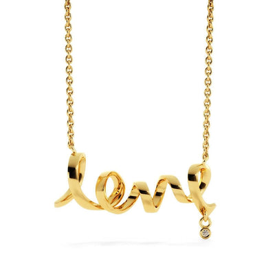 Jewelry To My Wife Gold Scripted Love Necklace Customfam USAJewelry