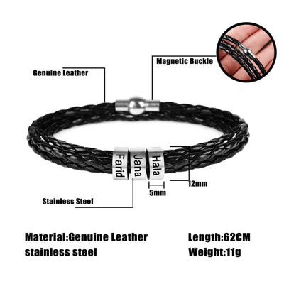 Personalized Mens Braided Genuine Leather Bracelet Customfam USAJewelry