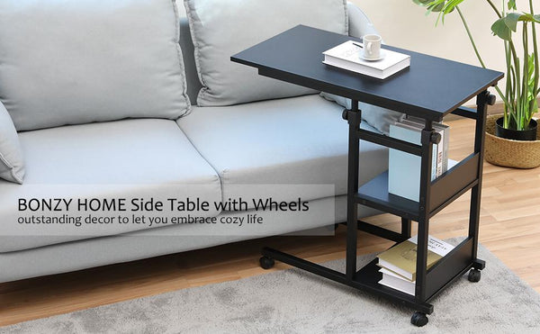 Bonzy Home Side Table with Wheels Snack C Table for Coffee Laptop