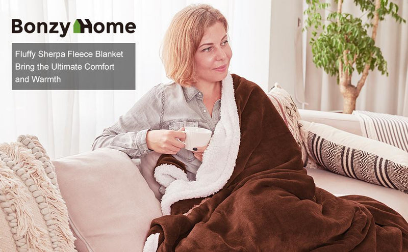 Save 50% off - Bonzy Home Sherpa Throw Blanket