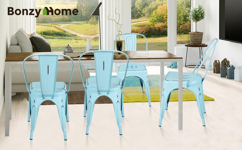 Only $99 for Bonzy Home Distressed Style Metal Dining Chairs Set of 4