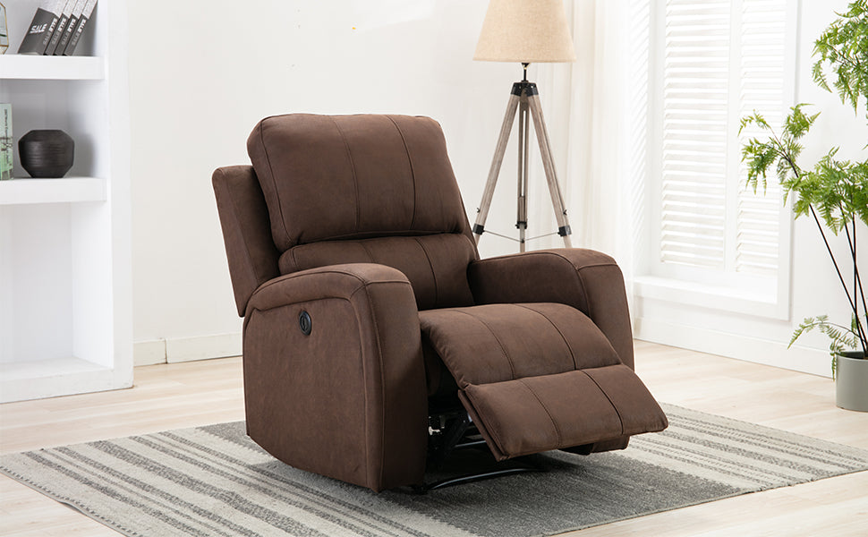 Air Suede Leather Power Recliner Chair