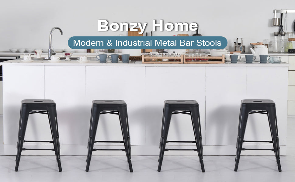 Distressed Style Metal Barstools