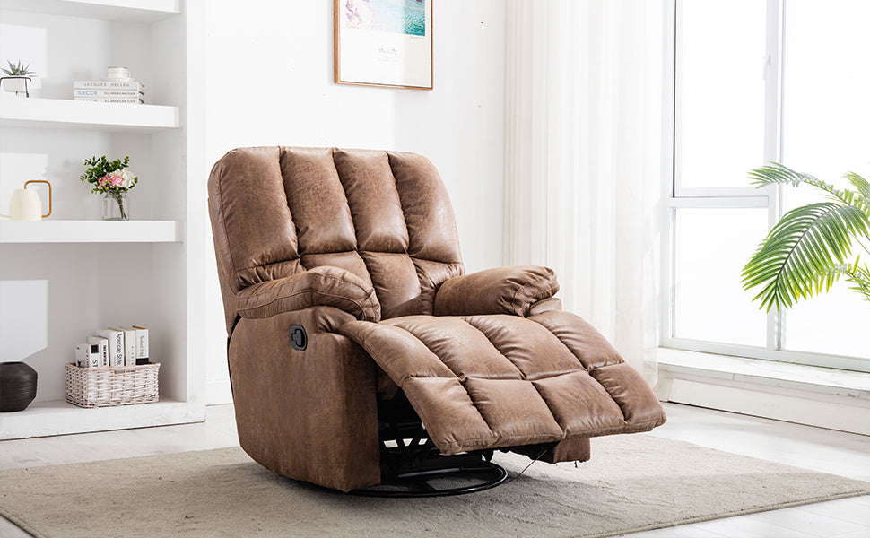 Air Suede Swivel and Glider Recliner