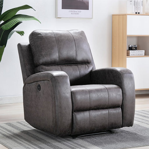 Bonzy Home Smoke Gray Air Suede Leather Power Recliner Chair