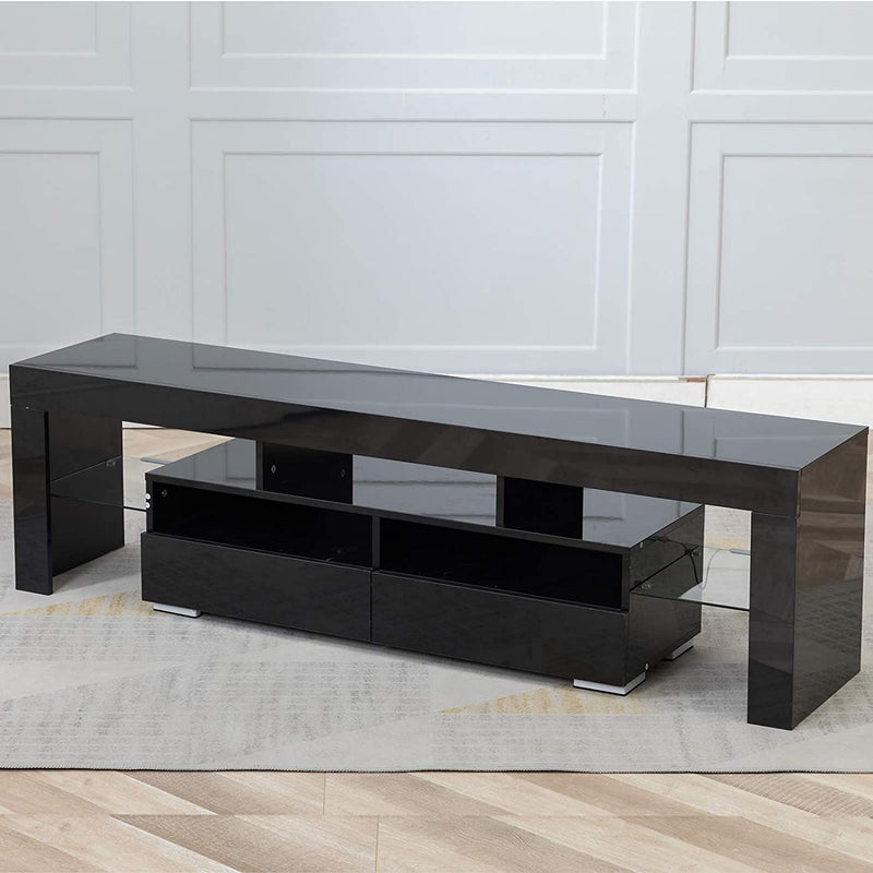 Glossy TV Stand, Wood Media Storage Console Cabinet