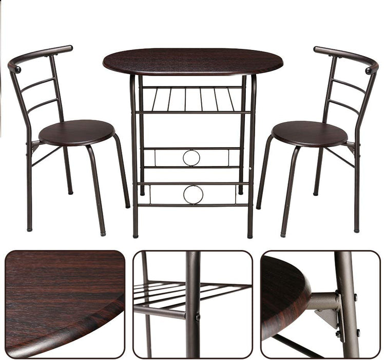 Couple Dining Table Set with Metal Frame and Shelf Storage (1 Oval Table + 2 Chairs)