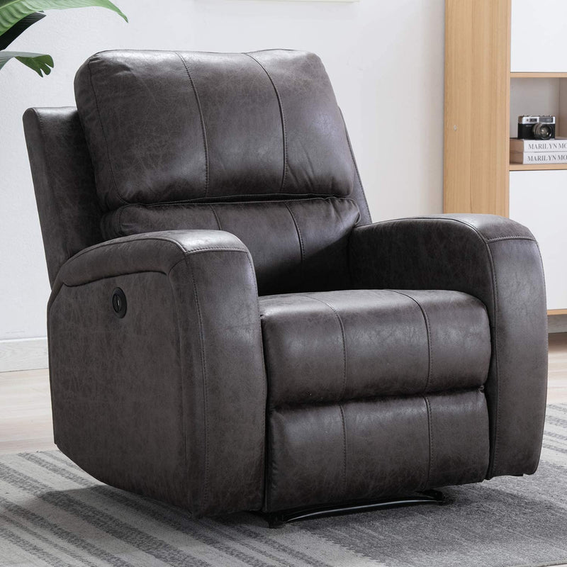 Bonzy Home Smoked Grey Air Suede Electric Recliner