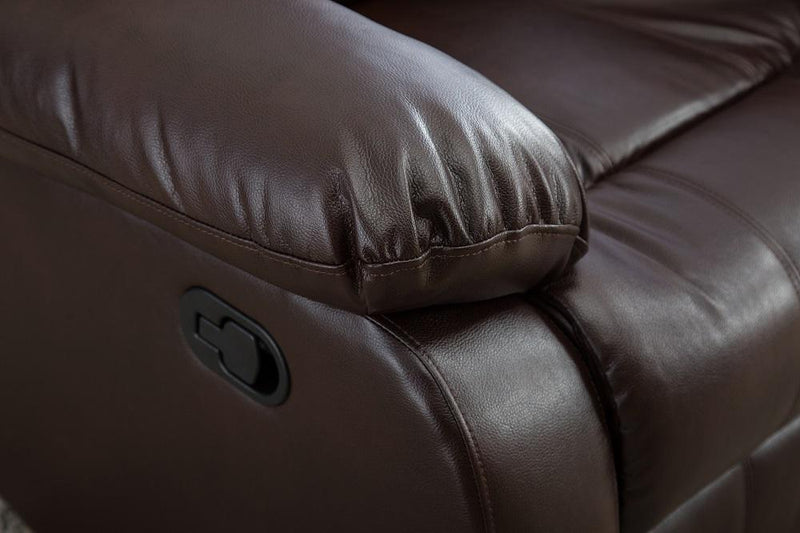 Manual Recliner Chair Sofa Leather Living Room Furniture Overstuffed Seat Brown