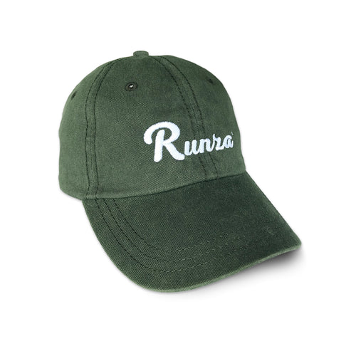 Army Green Baseball Cap with adjustable back. Runza® is embroidered in white in a script font on the front of the cap.