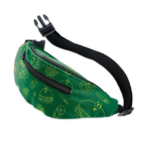 Kelly green fanny pack with yellow line art burgers, Runza® Sandwiches, crinkle fries and onion rings scattered on the fabric. There is a black buckled strap and 2 zipper pockets.