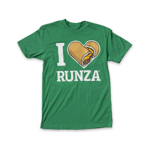 "Kelly green t-shirt with ""I Heart Runza®"" written in white. The heart is made from two cheese Runza® Sandwiches."