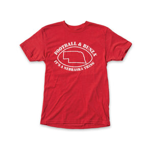"Red t-shirt with text ""Football & Runza® it's a Nebraska thing"" surrounding a line art drawing of a football around the state of Nebraska."
