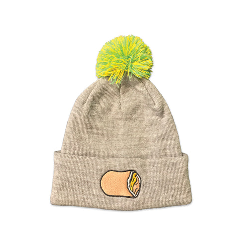 Light gray knit stocking cap with an embroided Cheese Runza® Sandwich on the rim. There is a lime green and yellow pom pom on top of the cap.