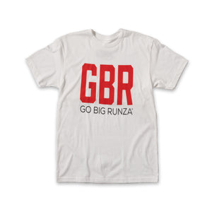 "White t-shirt with large red ""GBR"" and smaller black ""GO BIG Runza®"" below."