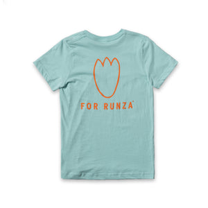 "Light blue t-shirt with ""For Runza®"" written in orange below an orange line art t-rex footprint."