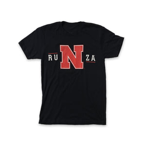 "Black t-shirt with RuNza on the front in white. The ""N"" is the large red Husker ""N""."