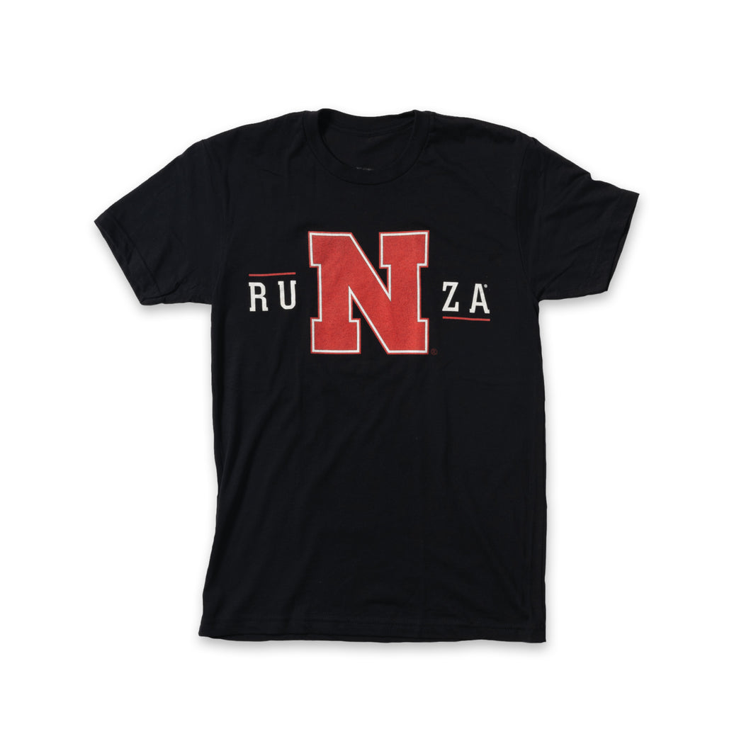 Black t-shirt with RuNza on the front in white. The
