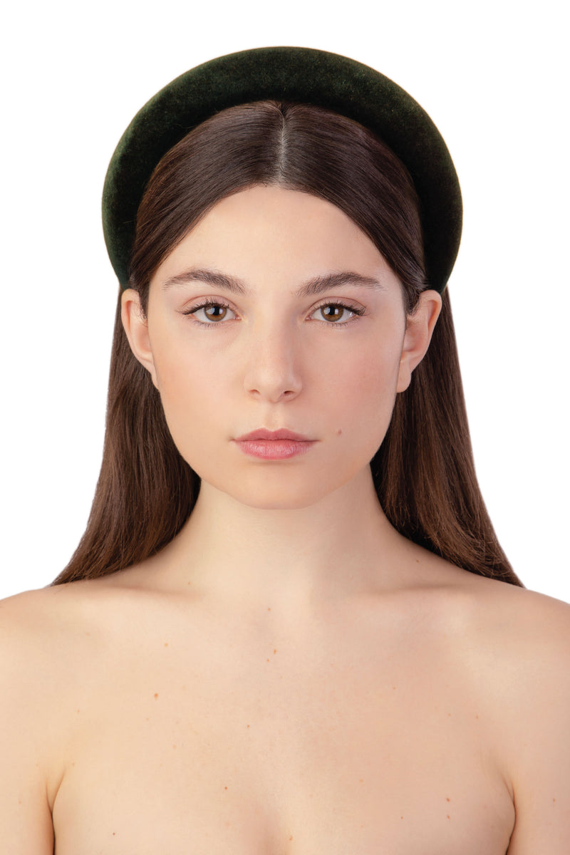 ACID POP VELVET HEADBAND - DARK GREEN