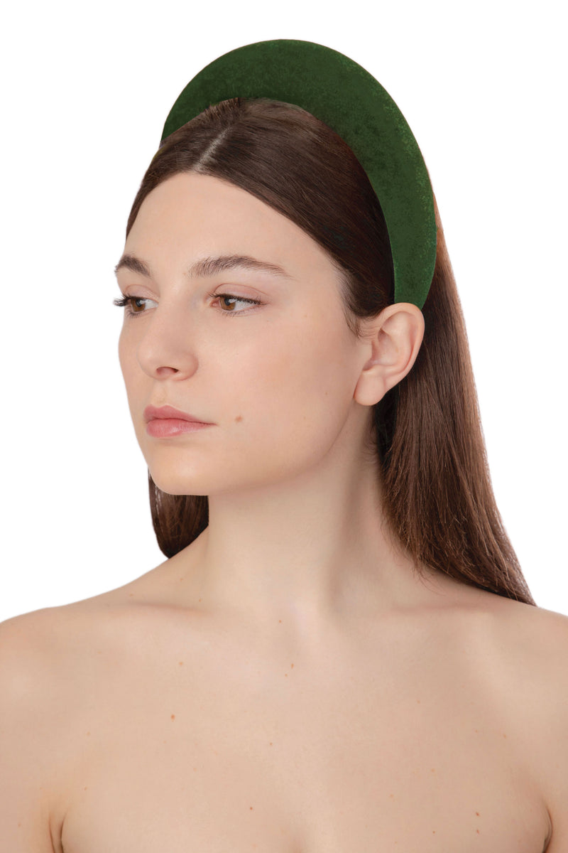 ACID POP VELVET HEADBAND - OLIVE