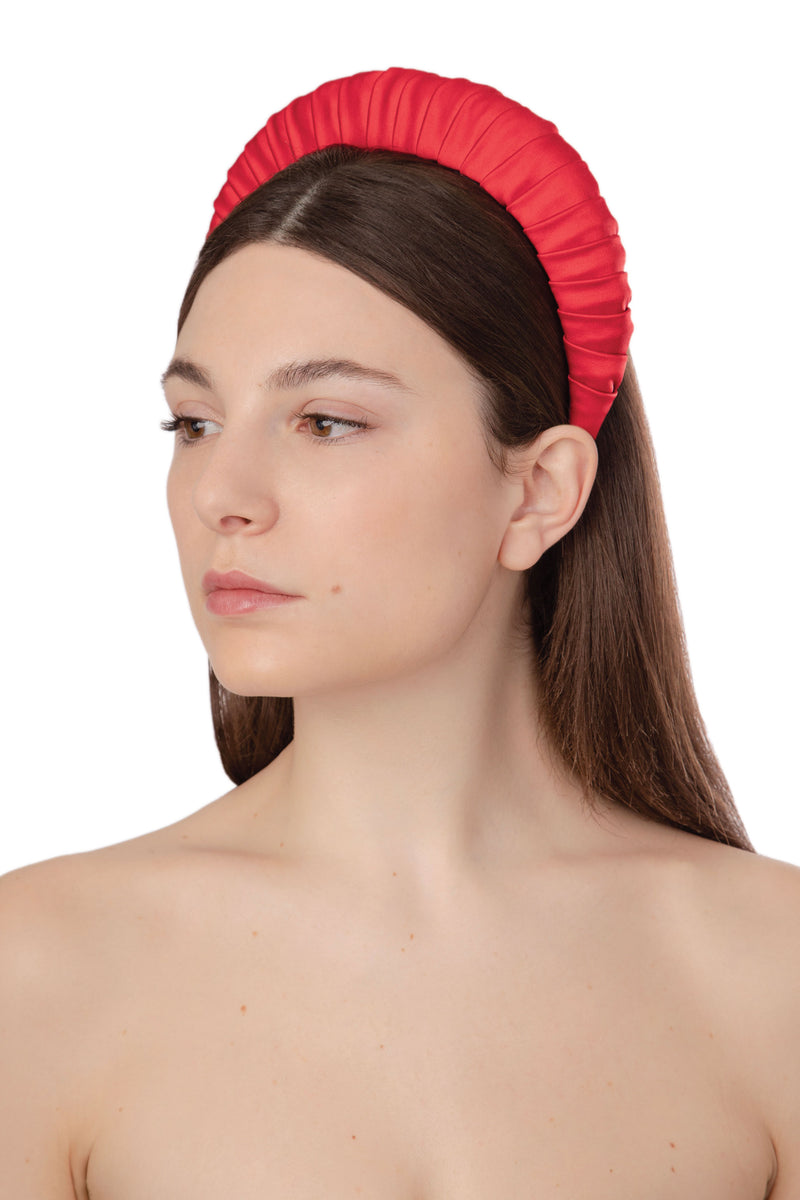 CROISSANT SATIN HEADBAND - RED