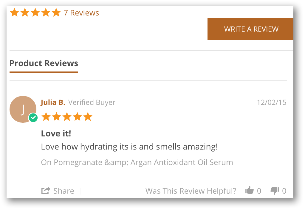 Customer review screenshot