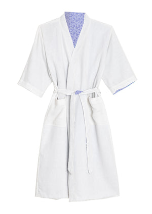 Organic Cotton Dressing Gown in Blue with Waffle Lining