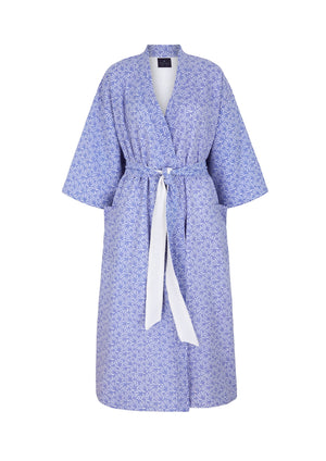 Load image into Gallery viewer, Organic Cotton Dressing Gown in Blue with Waffle Lining