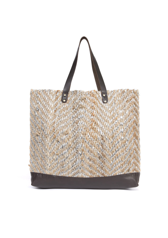 Silver Jute Basket Bag