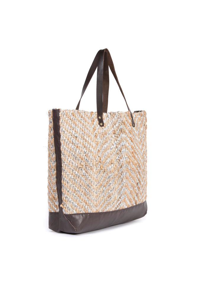 Load image into Gallery viewer, Gold Jute Basket Bag