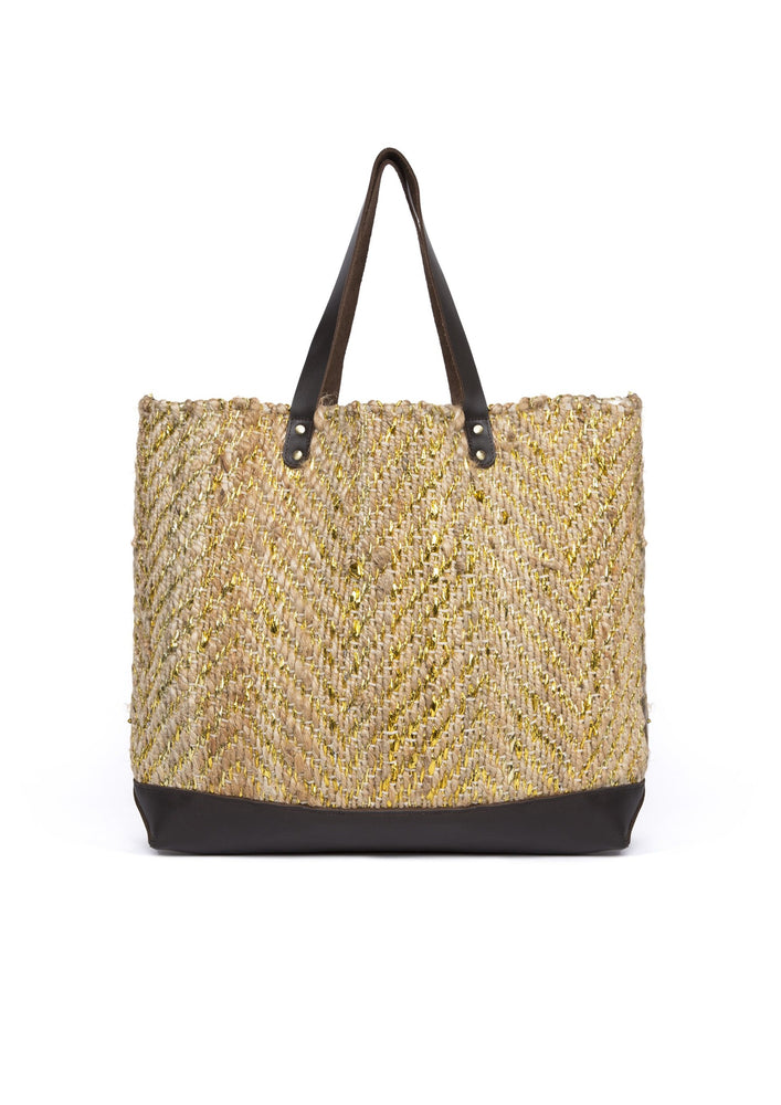Gold Jute Basket Bag