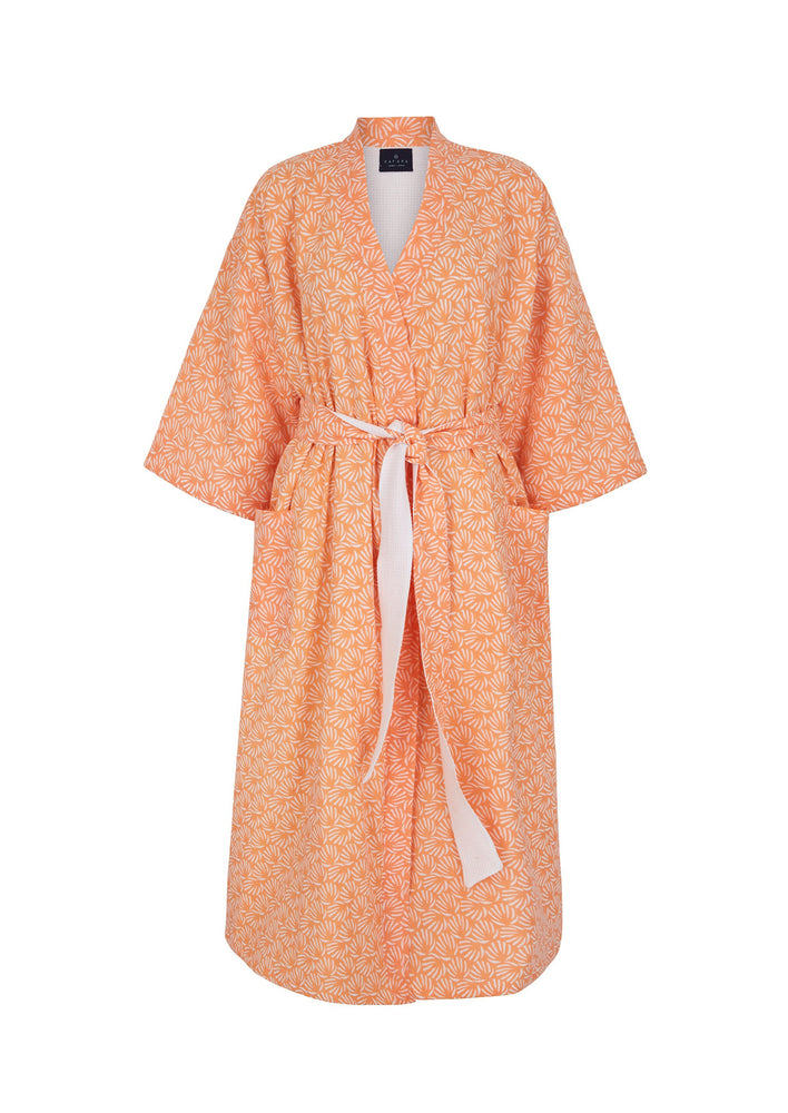 Reversible Organic Cotton Dressing Gown in Peach
