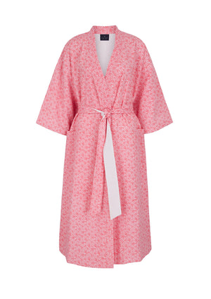 Reversible Organic Cotton Dressing Gown in Pink