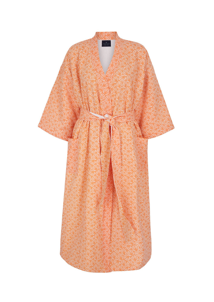 Organic Cotton Dressing Gown in Peach