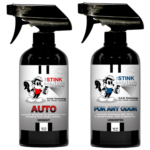 The Stink Solution One Auto Midnight, One Unscented 16 oz. Sprays