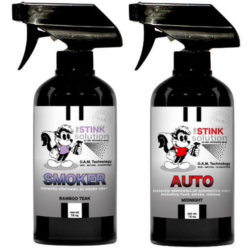 The Stink Solution One Smoker Bamboo Teak, One Auto Midnight 16 oz. Sprays