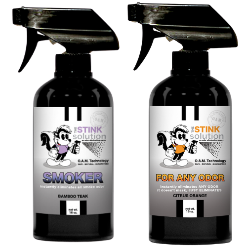The Stink Solution One Smoker Bamboo Teak, One Citrus Orange 16 oz. Sprays