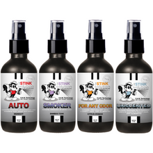 Load image into Gallery viewer, 4 oz. Odor Sampler Set: 4 Odor Eliminating Sprays (Auto Midnight, Smoker Bamboo Teak, Citrus Orange, and Unscented)