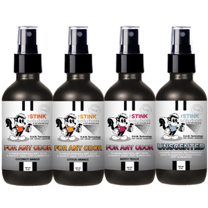 4 oz. Odor Sampler Set: 4 Odor Eliminating Sprays (Coconut Mango, Berry Peach, Citrus Orange, and Unscented)