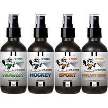 Load image into Gallery viewer, 4 oz. Hockey Odor Sampler Set: 4 Odor Eliminating Sprays (1 Hockey Coconut Lime, 1 Hockey Unscented, 1 Sport Driftwood, and 1 Citrus Orange) BUY 3 GET 1 FREE