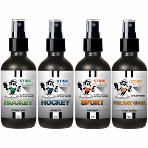 4 oz. Hockey Odor Sampler Set: 4 Odor Eliminating Sprays (1 Hockey Coconut Lime, 1 Hockey Unscented, 1 Sport Driftwood, and 1 Citrus Orange) BUY 3 GET 1 FREE