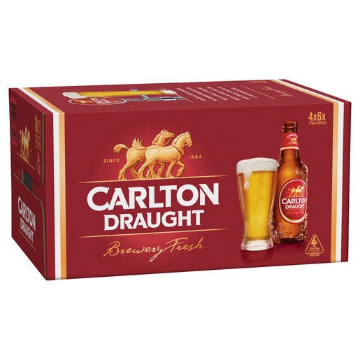 Carlton Draught Stubbies 375ml x 24