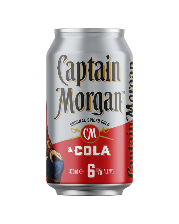 Captain Morgan Spiced Rum & Cola 6% Cans 375ml x 24