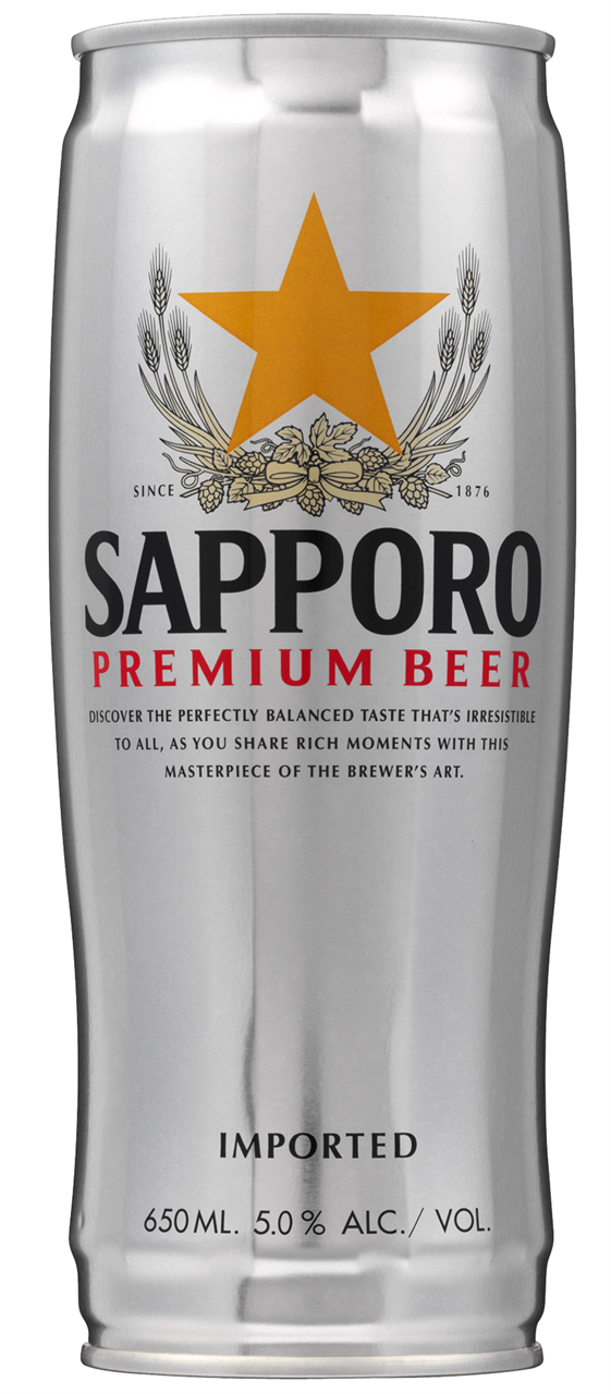 Sapporo Premium Lager Cans 650ml x 12    2 Free Glasses with every ctn