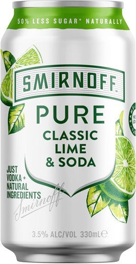 Smirnoff Pure Lemon Lime & Soda 3.5% 330ml x 34